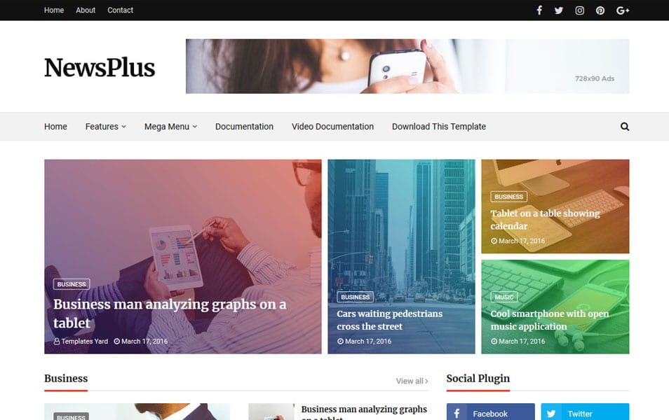 Newsplus Responsive Blogger Template