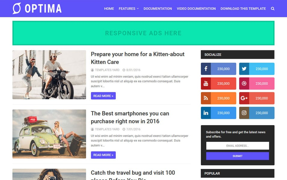 Optima Responsive Blogger Template