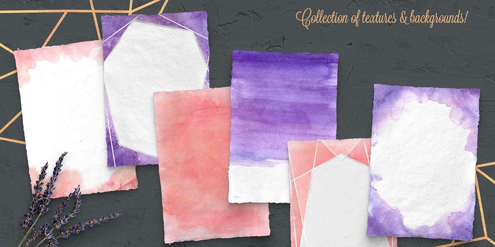 Peach and Purple Watercolor Texture Kit