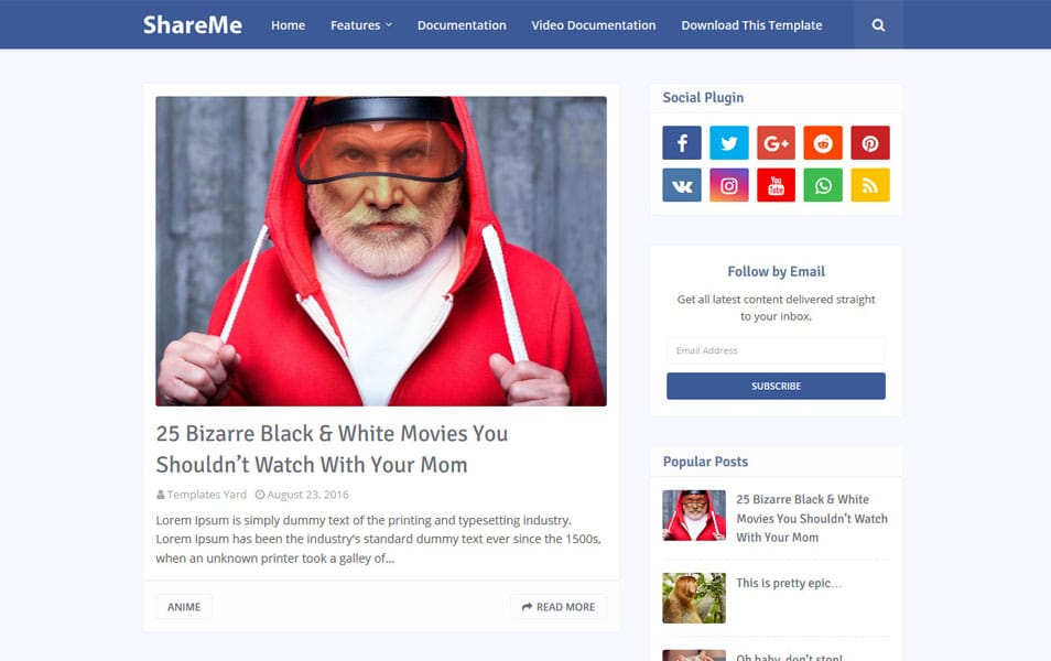 ShareMe Responsive Blogger Template
