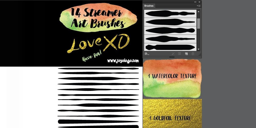 Streamer Art Brushes For Illustrator