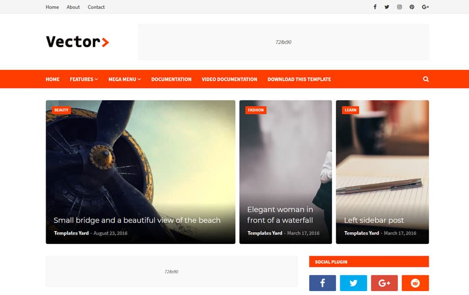 Vector Responsive Blogger Template