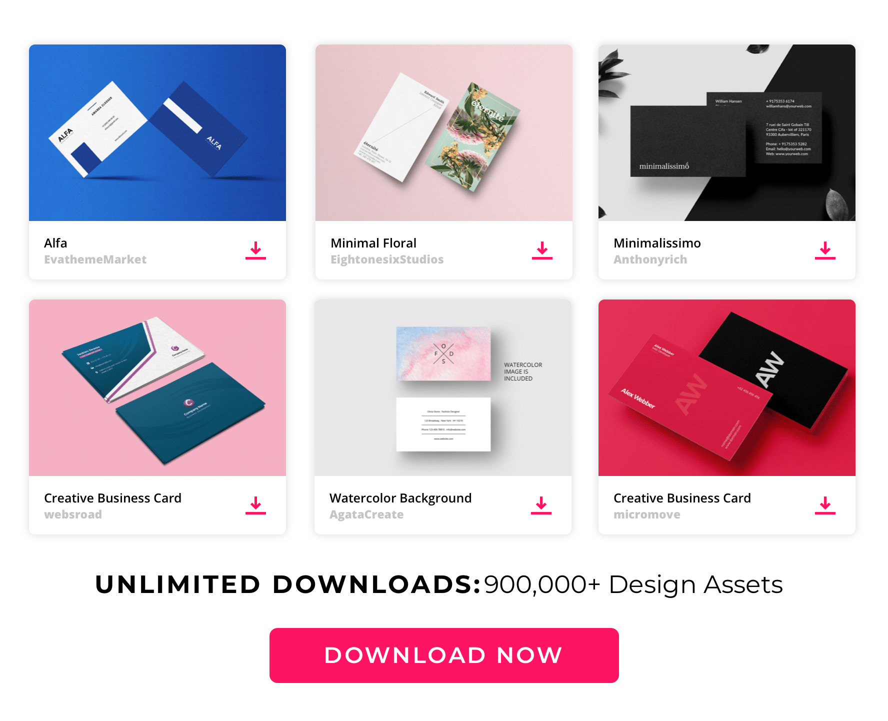 Envato Large content top Business card