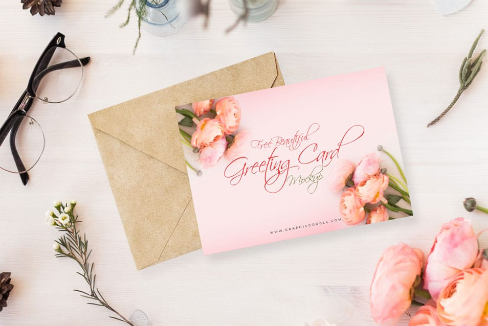 Free Beautiful Greeting Card MockUp PSD