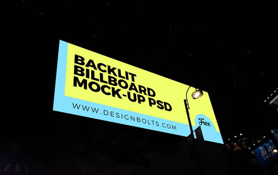 Free Night-view Backlit Billboard Mockup PSD