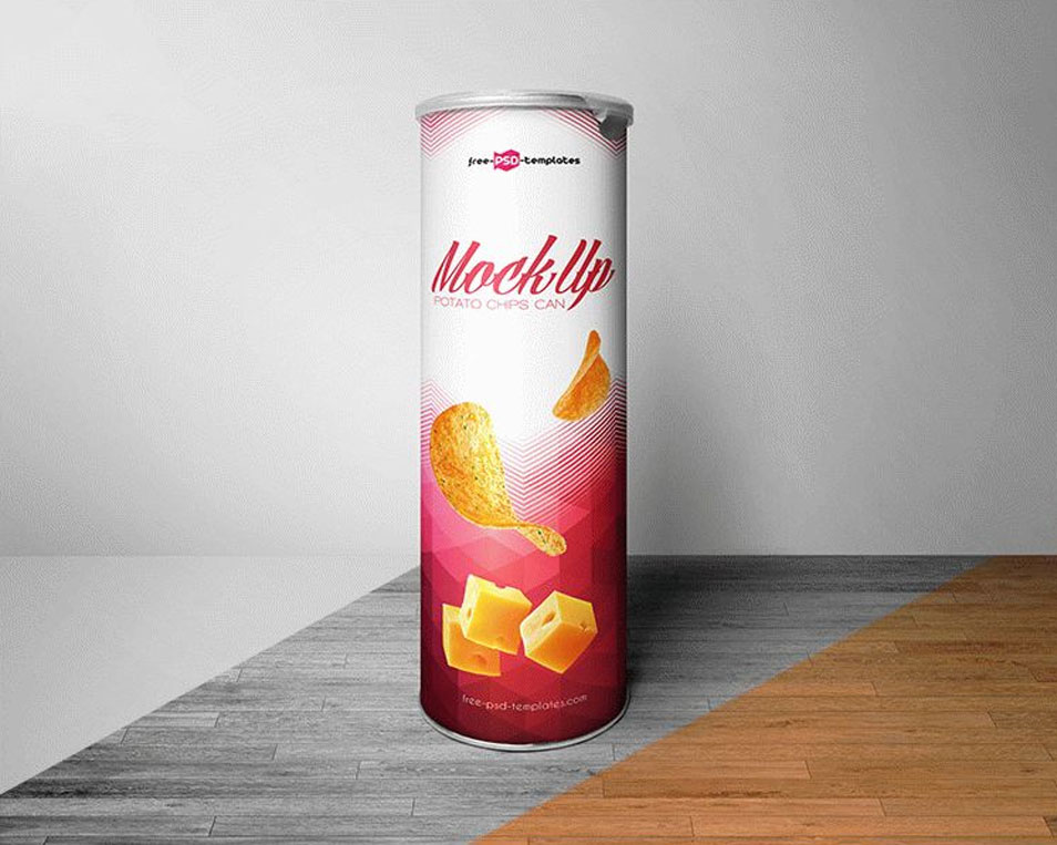 Free Potato Chips Can Mock-up in PSD