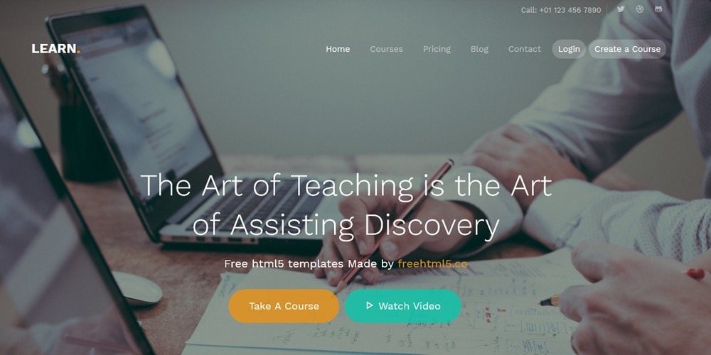 Learn - Website Template Using Bootstrap for School Courses Websites