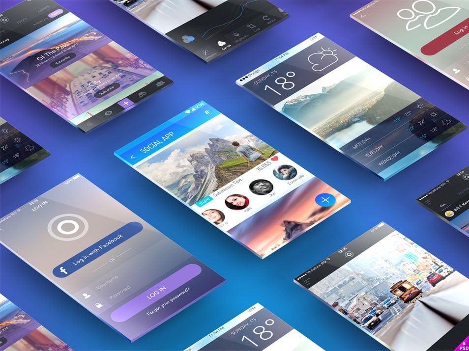 Perspective Screens App Presentation Mockup PSD