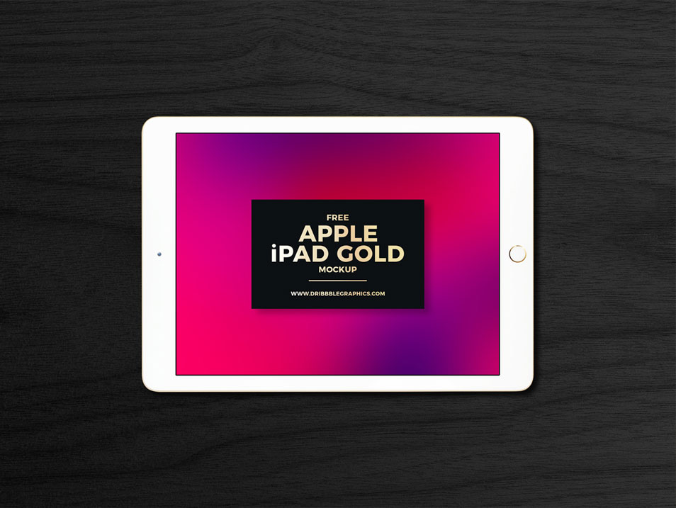 Free Apple iPad Gold Mockup