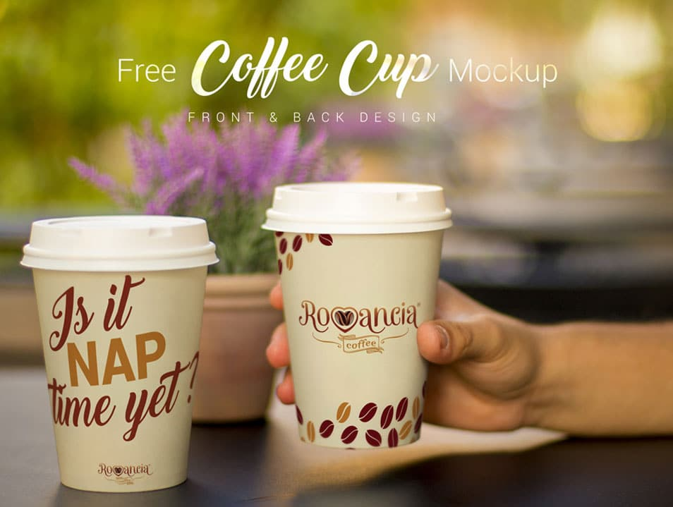 Free Coffee Cup Photo Mockup PSD (Front & Backside)