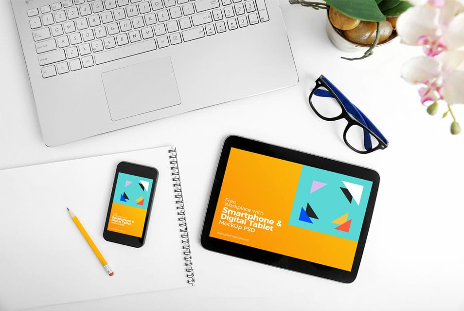 Free Workplace With Smartphone & Digital Tablet Mock-Up PSD