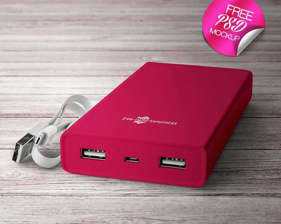 2 Free Power Bank Mock-up in PSD