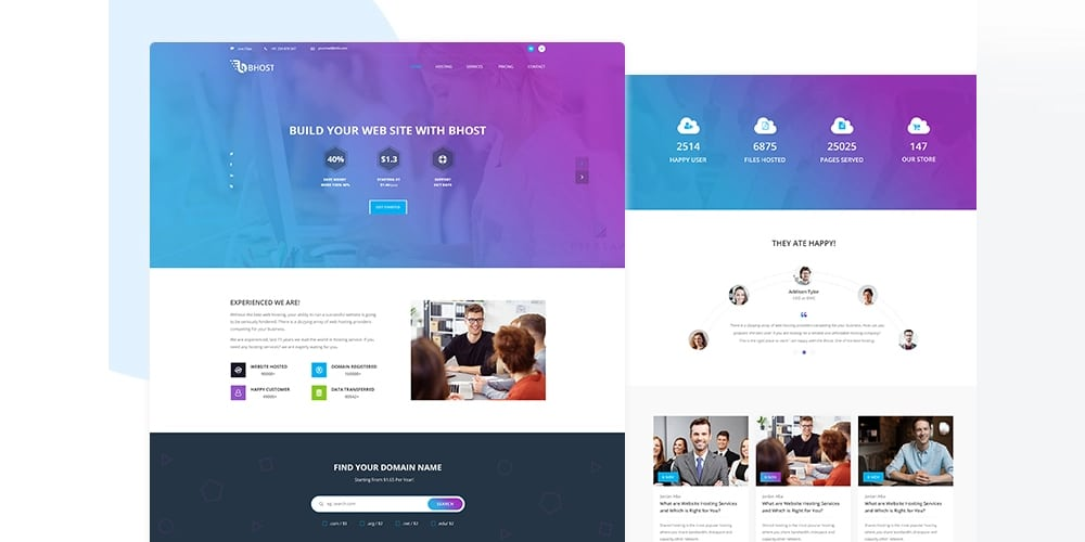 Bhost Hosting Template PSD