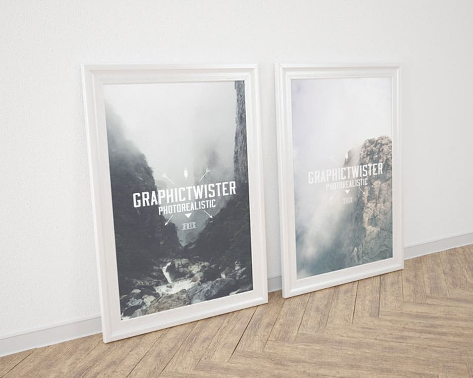 Double Silver Wall Frame Display Mockup