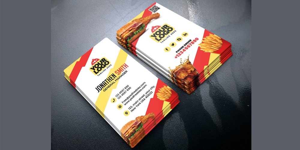 Food Restaurant Business Card PSD