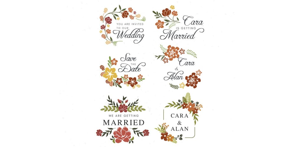 Free Floral Wedding Labels