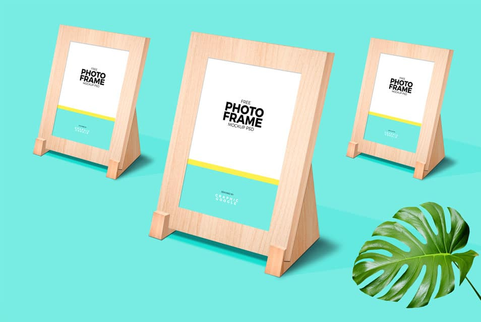 Free Photo Frame Stand Mockup PSD