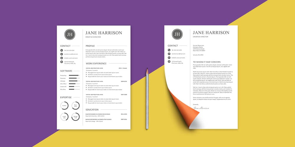 Free Resume Template and Cover Letter PSD