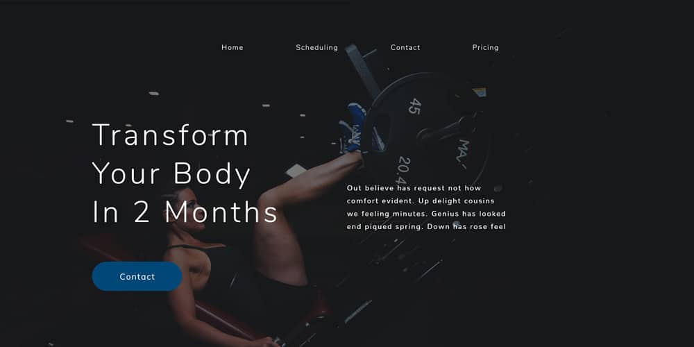 Gym Workout Web Template
