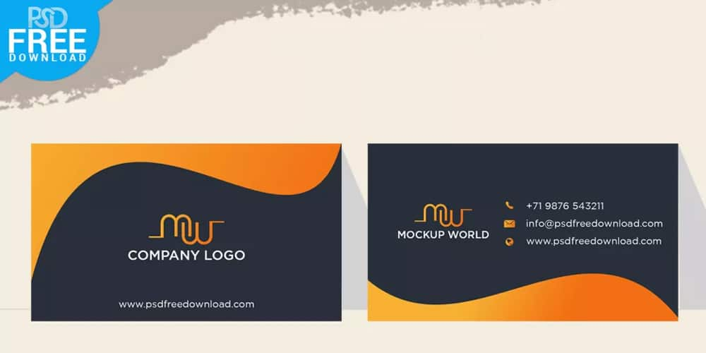 Orange Business Card Mockup Design PSD