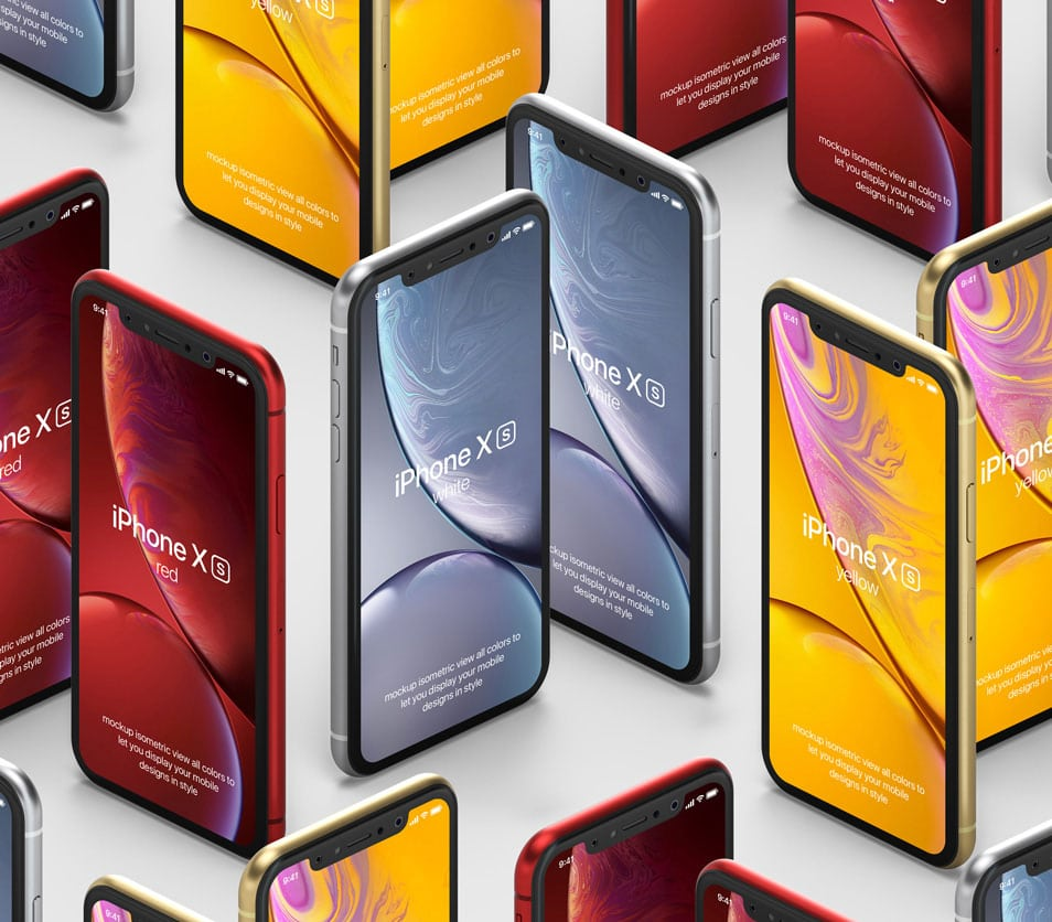 PSD iPhone XR Mockup Isometric