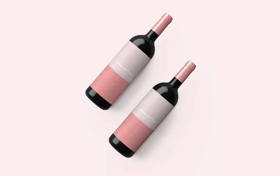 Wine Bottle Top View Mockup