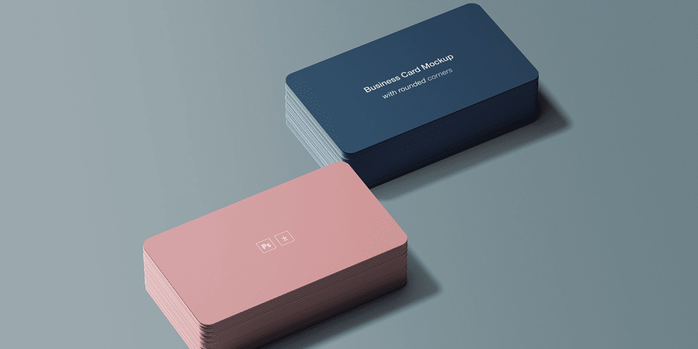 Business Card Mockup with Rounded Corners