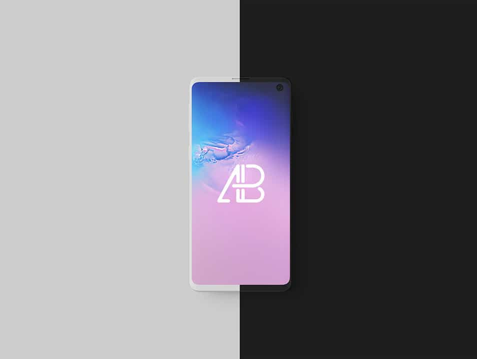 Clay Samsung Galaxy S10 Top View Mockup