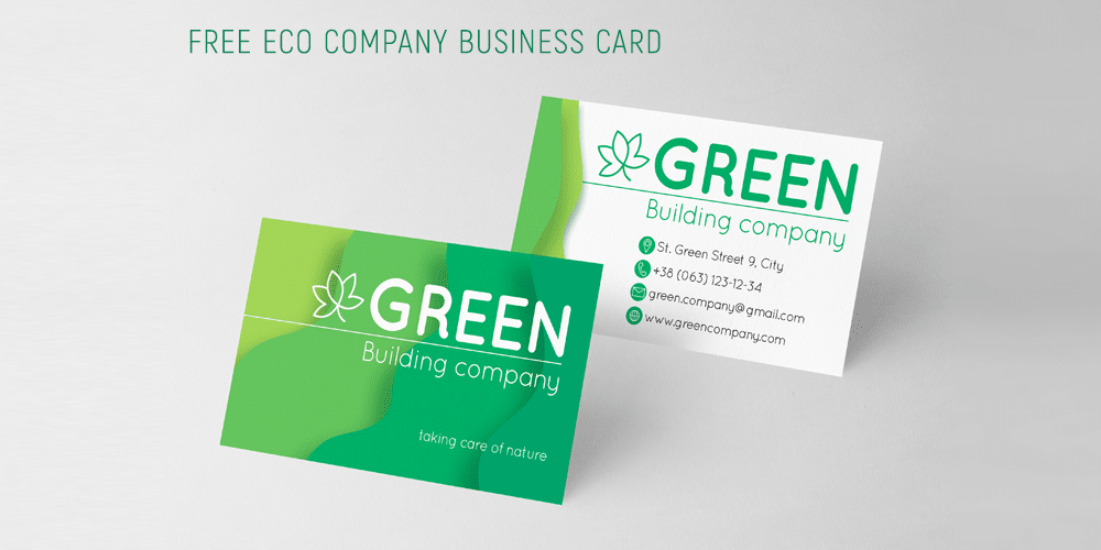 Eco Company Business Card Template PSD