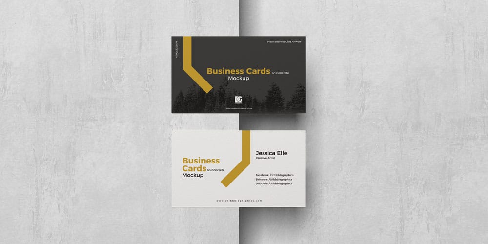 Free Business Cards on Concrete Mockup