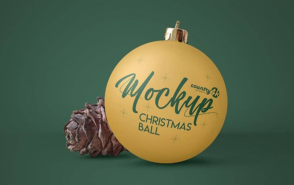 Free Christmas Ball MockUp in 4k