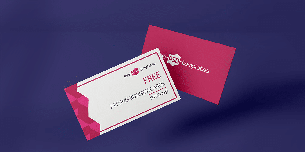 Free Flying Business Card Mockup PSD