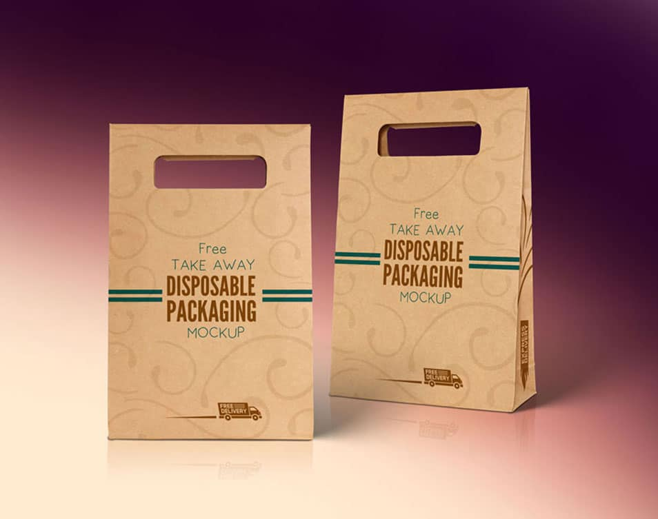 Free Kraft Paper Disposable Food Bag Packaging Mockup PSD