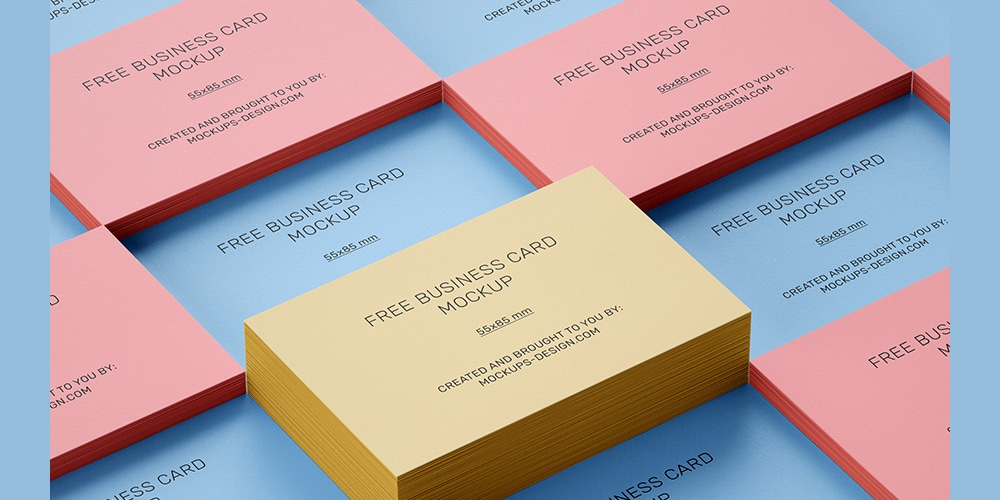 Free Stacked Business Card Mockup PSD