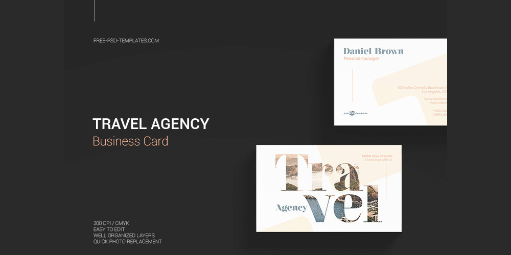 Free Travel Agency Business Card PSD
