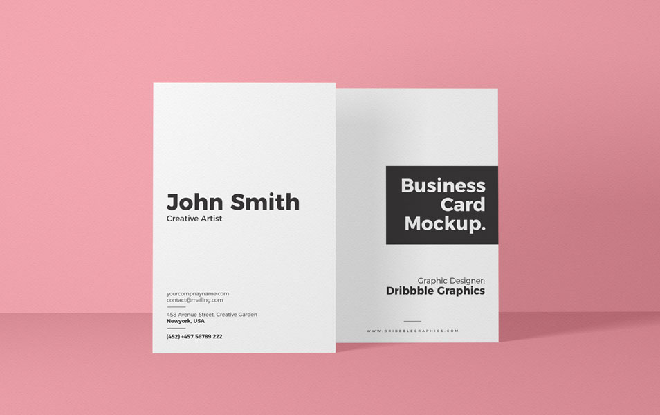 Free Vertical Front View Business Card Mockup