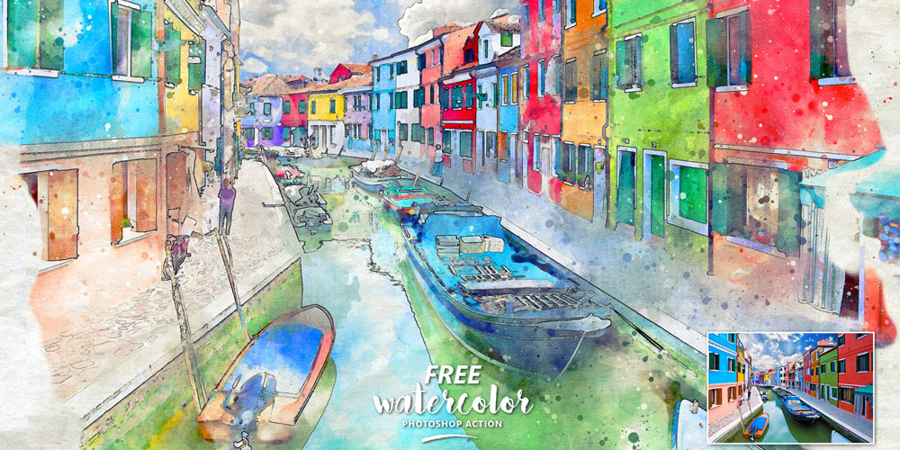 Free Watercolor Photoshop Action