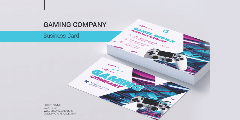 Gaming Company Business Card PSD