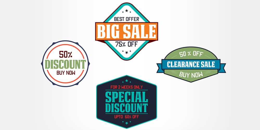 Sale and Discount Badges Vector