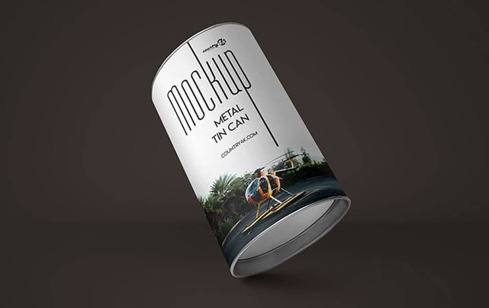 2 Free Metal Tin Can PSD MockUps in 4k