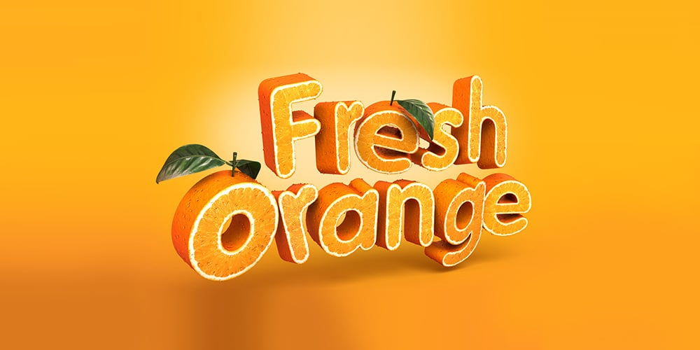 3D Fruit Textured Text Effect