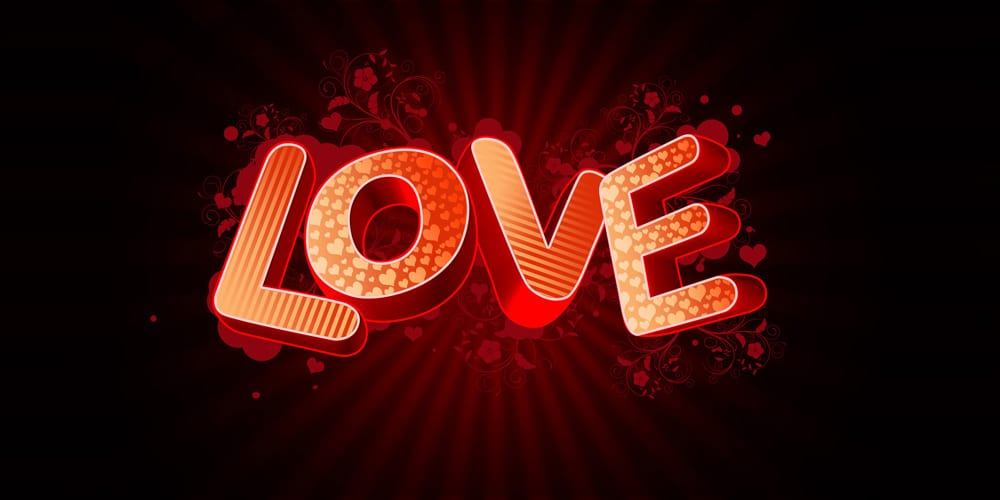 3D Love text composition