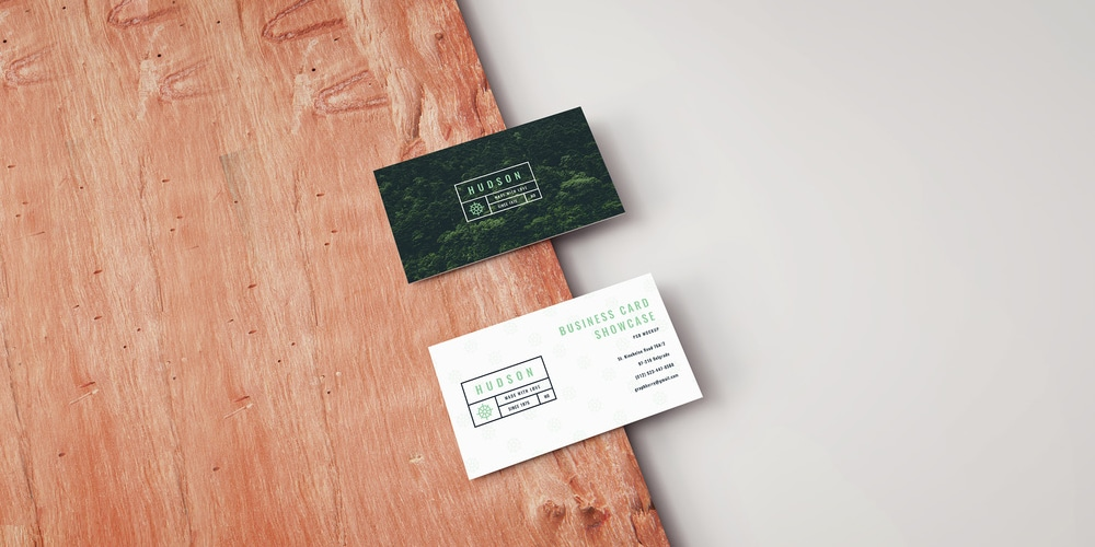 Business Card Mockup on a Wooden Board