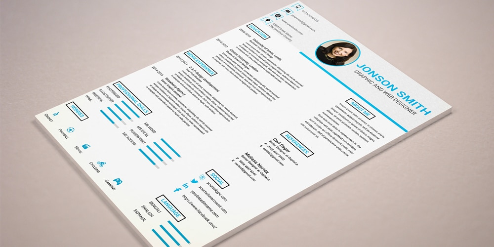 Cv Resume Template PSD