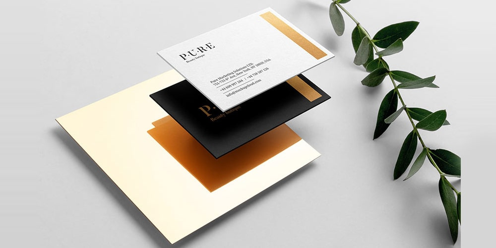 Elegant Business Card Mockup with Floral Element