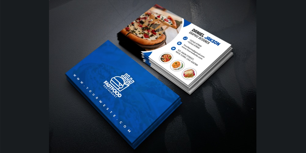 Fast Food Restaurant Business Card Design PSD