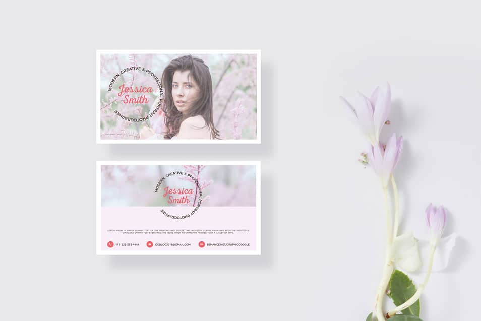 Free Blooming Business Card Mockup