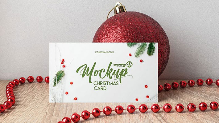 Free Christmas Card PSD MockUp in 4k