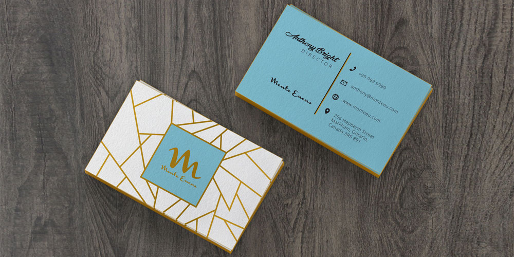 Free Colored Business Card Mockup PSD