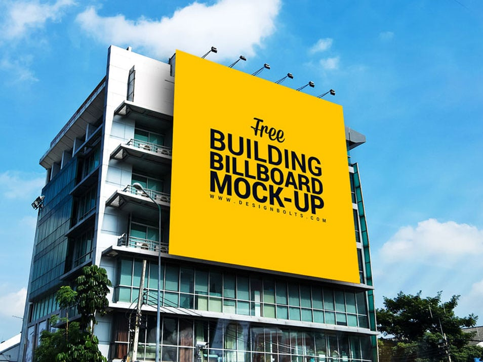 Free Outdoor Advertisement Building Billboard Mockup PSD